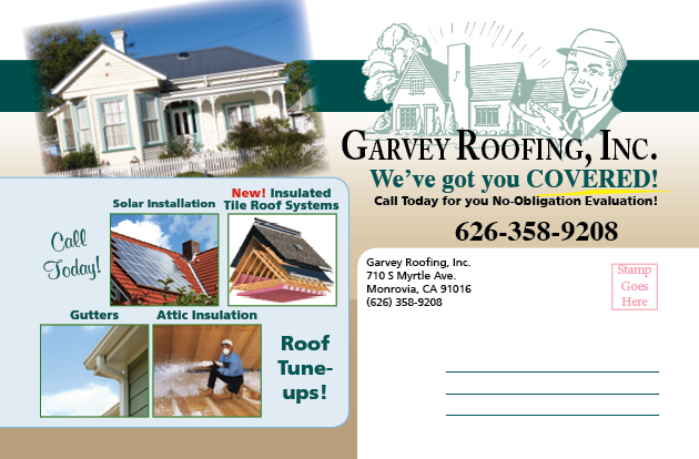 Mailer example for Garvey Roofing Promo