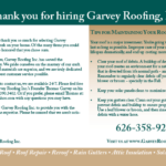Mailer example for Garvey Roofing saying thank for selecting his servicves