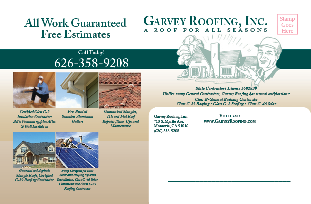 Mailer example for Garvey Roofing thank you